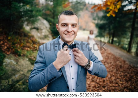 happy groom, wedding walk on nature