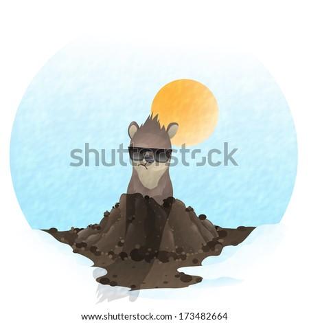 Happy Groundhog Day. - stock photo