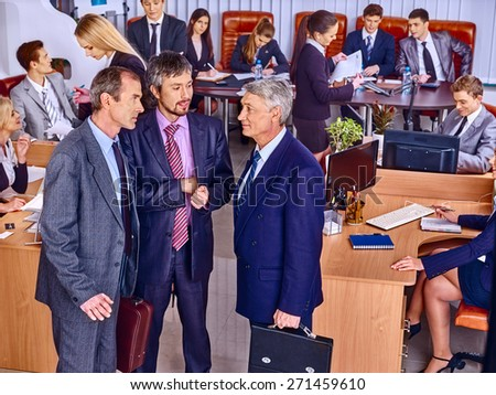Happy group business people together  in office. Top view. - stock photo