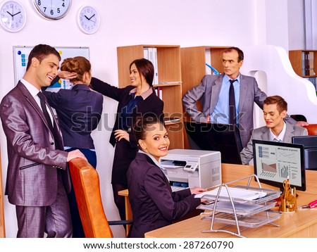 Happy group business people together  working office.