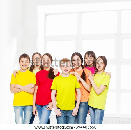 Happy group children isolated at white background. Smiling teen.