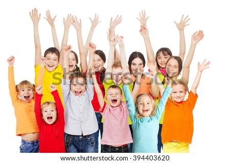 Happy group children isolated at white background. Smiling teen. Frendship boys and girls different ages - stock photo