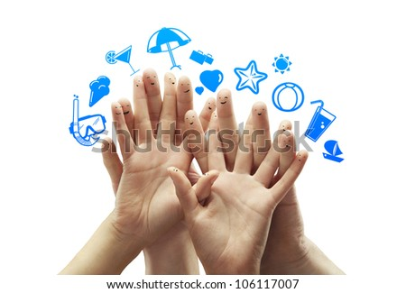 happy group finger smileys with travel symbol