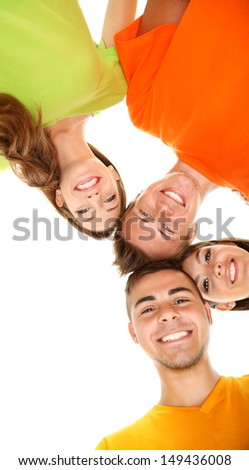Happy group of beautiful young people, isolated on white - stock photo