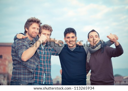 Happy Group of Boys Outside - stock photo