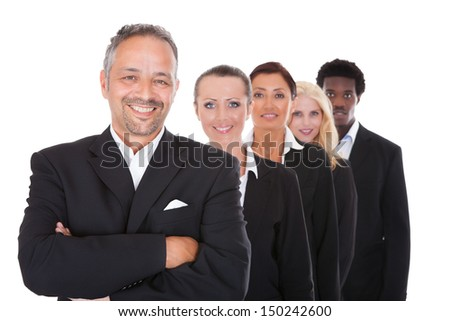 Happy Group Of Business People Standing In A Row Over White Background - stock photo