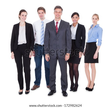 Happy Group Of Businesspeople Standing Over White Background - stock photo