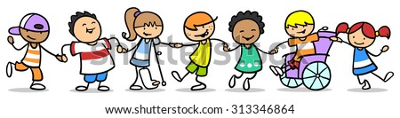 Happy group of children doing inclusion and integration with disabled kids - stock photo