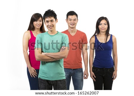 Happy group of Chinese friends. Isolated on a white background.