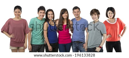 Happy group of Chinese friends. Isolated on a white background. - stock photo