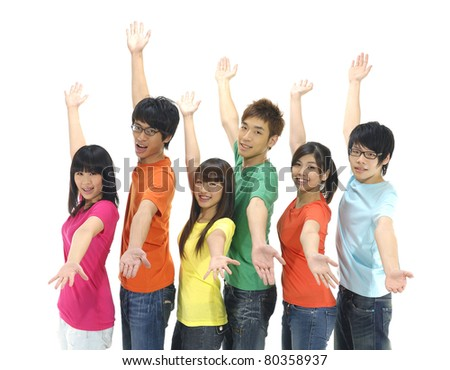 Happy group of college or university students with arms up - - stock photo