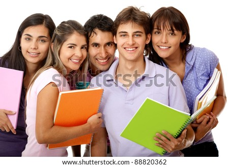 Happy group of college students with notebooks and smiling - isolated over a white background - stock photo