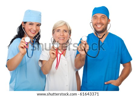 Happy group of diverse doctors smiling and showing their stethoscopes in front of image isolated on white background - stock photo