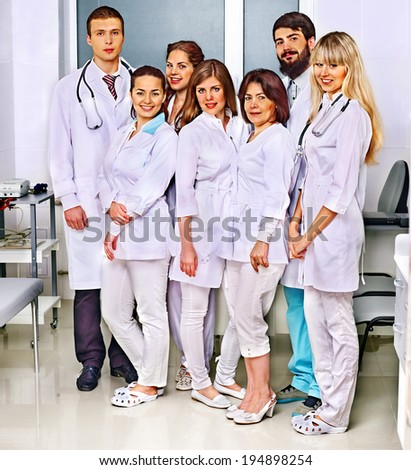 Happy group of doctor at hospital. - stock photo