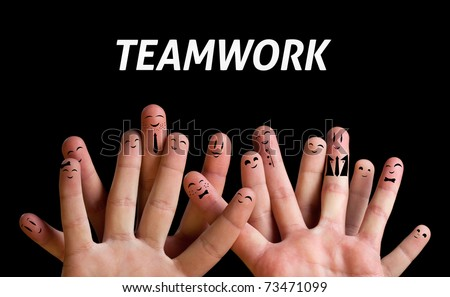 Happy group of finger smileys 3 (teamwork theme) - stock photo
