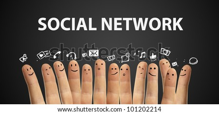 Happy group of finger smileys with social chat sign and speech bubbles,icons. Fingers representing a social network. - stock photo
