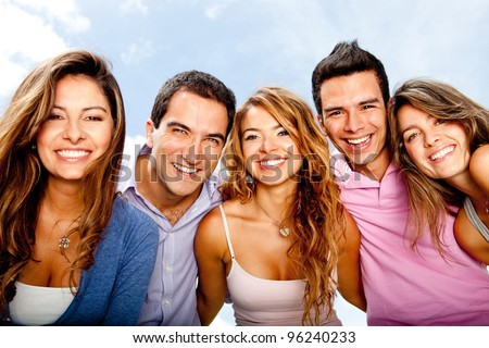Happy group of friends in a summery day having fun - stock photo