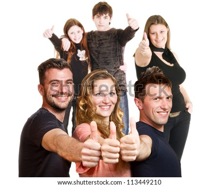 Happy group of friends isolated over white - stock photo