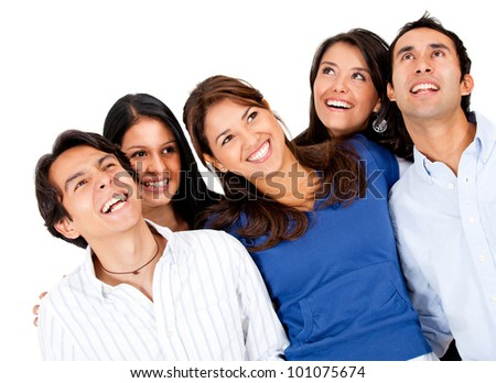 Happy group of friends laughing - isolated over a white background