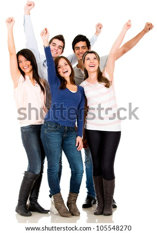 Happy group of friends with arms up - isolated over a white background - stock photo