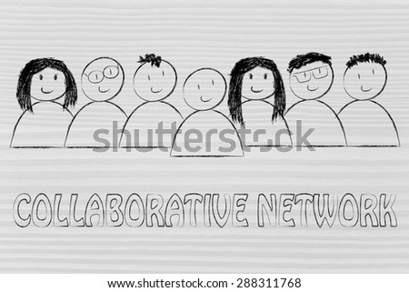 happy group of people dedicated to a collaborative network
