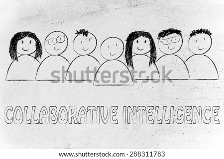 happy group of people dedicated to collaborative intelligence online
