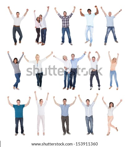 Happy Group Of People Dressed In Casual Raising Arm Over White Background - stock photo