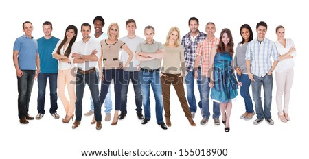 Happy Group Of People Dressed In Casual Standing Over White Background - stock photo