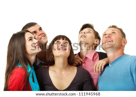 Happy group of people happy looking up. over white background - stock photo