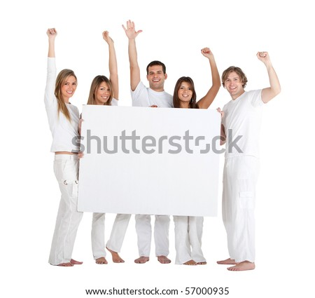Happy group of people holding a banner isolated over a white background - stock photo