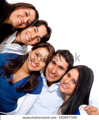 Happy group of people smiling - isolated over a white background - stock photo