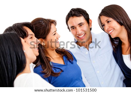 Happy group of people talking - isolated over a white background - stock photo