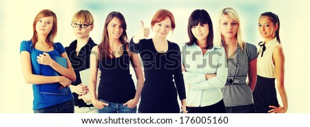 Happy group of students - stock photo