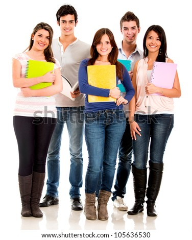 Happy group of students standing with notebooks - isolated over white - stock photo