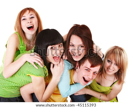 Happy group of young people in green.  Isolated. - stock photo