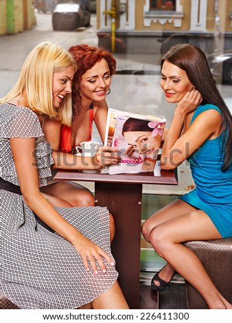 Happy group people drinking coffee at cafeteria . - stock photo