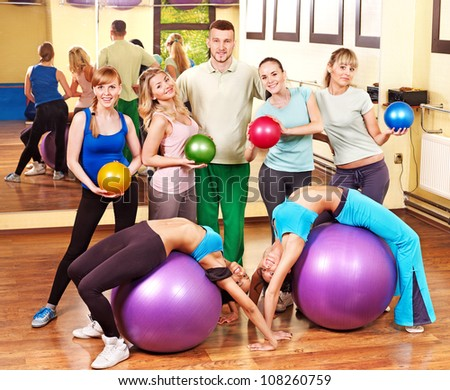 Happy group people in aerobics class.