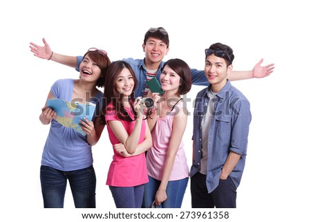 Happy group travel people hold camera, passport and map. Isolated on white background, asian - stock photo