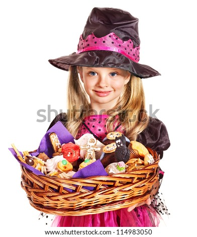 Happy group witch children at Halloween party. - stock photo