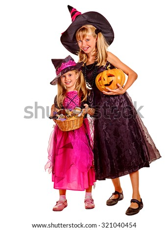 Happy group witch children at Halloween party. Isolated.