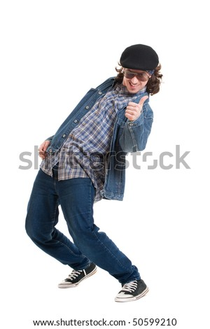 happy guy showing thumbs up. isolated on white background