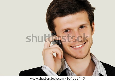 happy guy talking on the phone