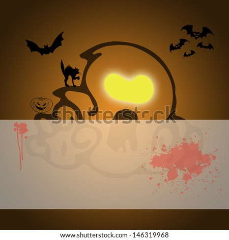 Happy Halloween background and concept card design - stock photo