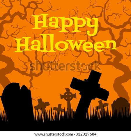 Happy Halloween card with creepy cemetery on orange background - stock photo