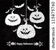 Happy Halloween card with pumpkin and bats. illustration - stock photo