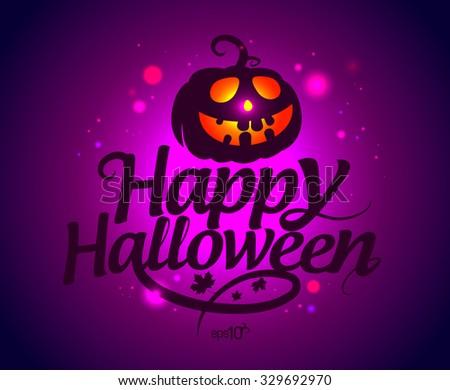Happy Halloween card with pumpkin, rasterized version. - stock photo