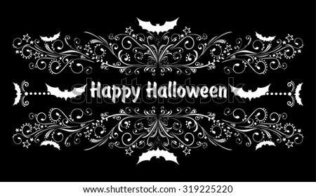 Happy Halloween! Celebration background with bat and place for your text. illustration  - stock photo