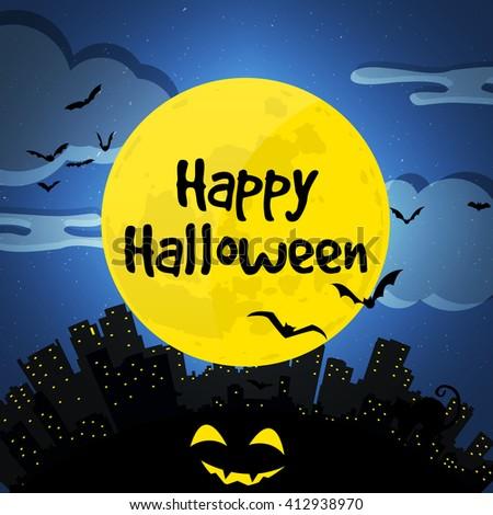 Happy halloween. City and full moon Illustration with building, bat, pumpkin, cat. - stock photo