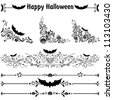 Happy Halloween! Collection of design elements isolated on White background. illustration - stock photo