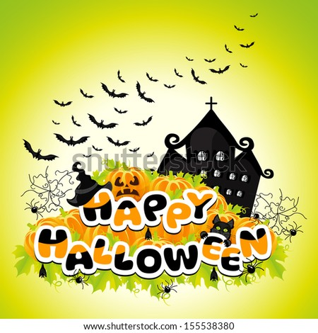 Happy Halloween colored abstract inscription - stock photo